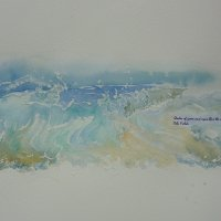 Seascape with text